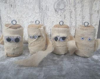Wine Cork Mummy Ornaments ~ Halloween Decor ~ Mummies ~