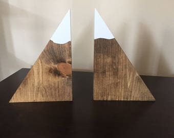 Large Set of Mountain Bookends, Wood Mountain Bookends / Wood Bookends / Mountain Decor / Snow Peak Bookends / Mountain Peak Bookends