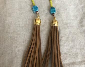 Tassle Earrings with Bead Detail