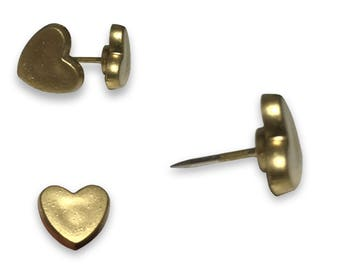Gold Heart Push Pins, Used with Howdy Owl Maps, US Map shown in photos is not sold with this listing