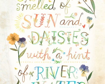 Sun and Daisies Print | Watercolor Quote | Wall art | Floral |  8x10 | 11x14