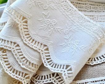 Ivory cotton lace, Cotton crochet lace, Embroidered crochet lace, Ivory vintage lace, Lace trim, Crochet lace trim, Scallop border lace