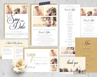 Printable FULL Wedding Suite with Photo Options {Includes 7 Custom Pieces} Classic, Traditional, Simple