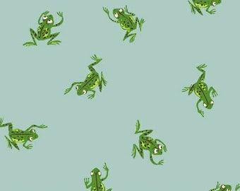 Kinder by Heather Ross for Windham Fabrics - Frogs - Pale Blue - Fat Quarter - FQ - Cotton Quilt Fabric