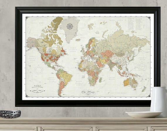 Push pin travel map updated for 2017 modern world map with push pin travel map updated for 2017 modern world map with push pins framed mounted and ready to hang 24x36 map gumiabroncs Gallery