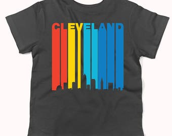 Retro 1970's Style Cleveland Ohio Cityscape Downtown Skyline Infant / Toddler T-Shirt