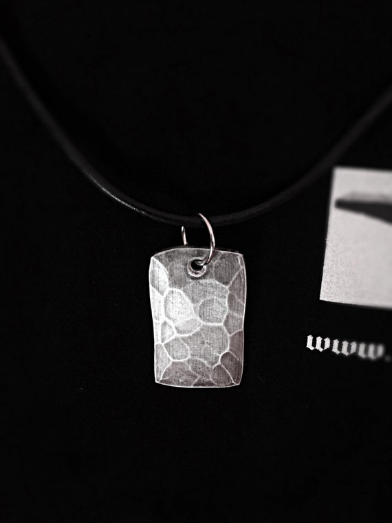 HAMMER TEXTURED Aluminium Pendant - Hand Made by Naz - Leather Necklace - Unisex Gift Idea - Hand Hammered for an Original Look Everytime