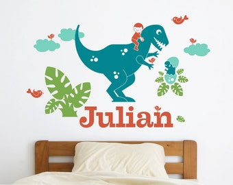 T-Rex Dinosaur Wall Decal Boy Personalized Name Dinosaur Nursery Theme Dino Room Decor Prehistoric Removable Vinyl