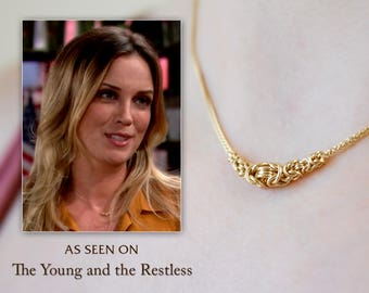 Solid 18k Gold Chain Necklace, Elegant Byzantine Chainmaille Jewelry, Short Station Necklace for Women, As Seen On TV The Young and Restless