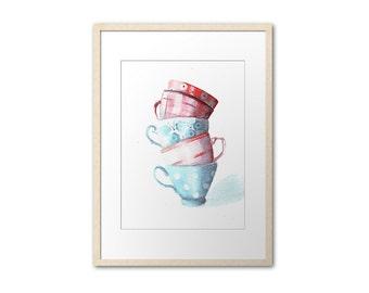 Print of teacups tower . Art by Helga McLeod. HM115
