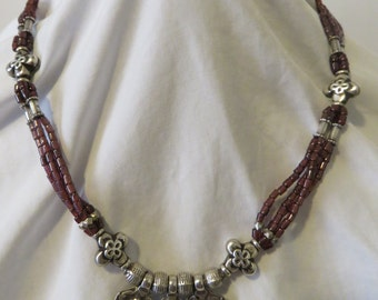 """Hand Beaded Natural Garnet & Sterling Silver 18.5"""" Necklace."""