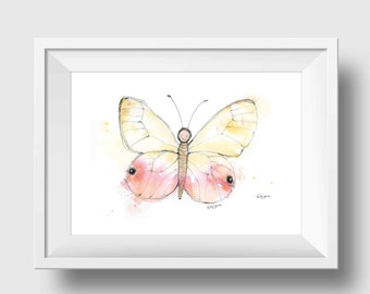 Pink Butterfly Nursery Art - Pink Butterfly Wall Art - Girls Butterfly Print - Butterfly Art Print - Girls Room Butterfly Wall Art