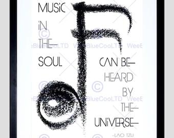 Quote Lao Tzu Music In The Soul Heard Universe Quality Fine Art Poster FEQU084