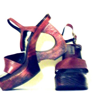 Steve Madden Wooden Wedge Platform Sandals Size 8 1990s Vintage Best  Selling Items