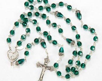 First Communion Catholic Rosary Handmade - Green Swarovski Crystal, Miraculous Medal, Sterling Silver - Custom, Heirloom Baptism Rosaries