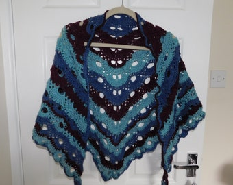 Handmade crochet Virus shawl - in warm tone clours plum - rich blue and minty teal - Ladies / teens / also would do as cape