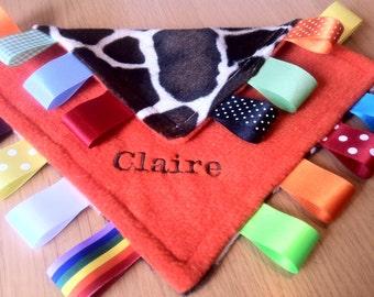 Personalised or Unpersonalised Taggy Blanket/Comforter/Gift in Orange