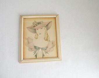 Framed R Cervinka Shabby Chic Woman Vintage Lithograph