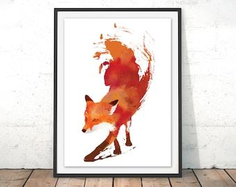 Fox Print, Red Fox Watercolour print with Frame, Fox Art Print, Fox Illustration, Fox Poster Wall Hanging, Kids Print Robert Farkas