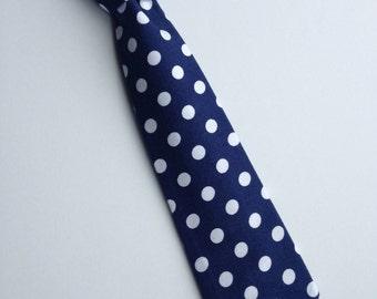 Boys Neck Tie, Navy Blue and White Polka Dot Necktie, Infant Tie, Toddler Neck Tie, Baby Neck Tie, Large Dot Tie