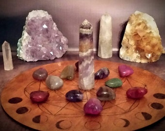 Crystal grid - Large wooden Flower of life crystal grid with moon phases - 24cm
