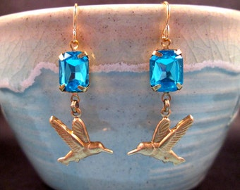 Hummingbird Earrings, Aqua Rhinestones and Brass Bird Charms, Dangle Earrings, FREE Shipping U.S.