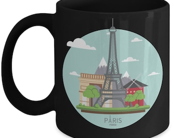 Eiffel Tower Coffee Mug - Paris - France - Black Ceramic Cup - Alps