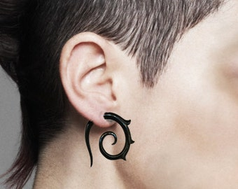 Girl With The Dragon Tattoo, Lisbeth Spirals, Fake Gauge, Eco-Friendly, Tribal Earrings, Black Horn, Tribal Jewelry, Handmade - H21