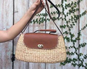 PRE-ORDER Brown Basket Bag / Straw Bag / straw tote / Straw Hand bag / Shoulder Bags / straw purse /Woven Bag / seagrass bag / wicker bag