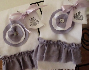 White Cotton Twill Hand Towels with Ruffles and Millinery - Guest Towels - Tea Towels - Designed by Suzanne MacCrone Rogers - Set of 2
