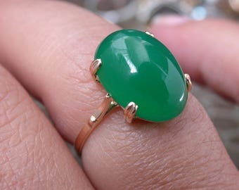 antique vintage deco victorian 18k gold green cabochon chrysoprase stone ring free resize