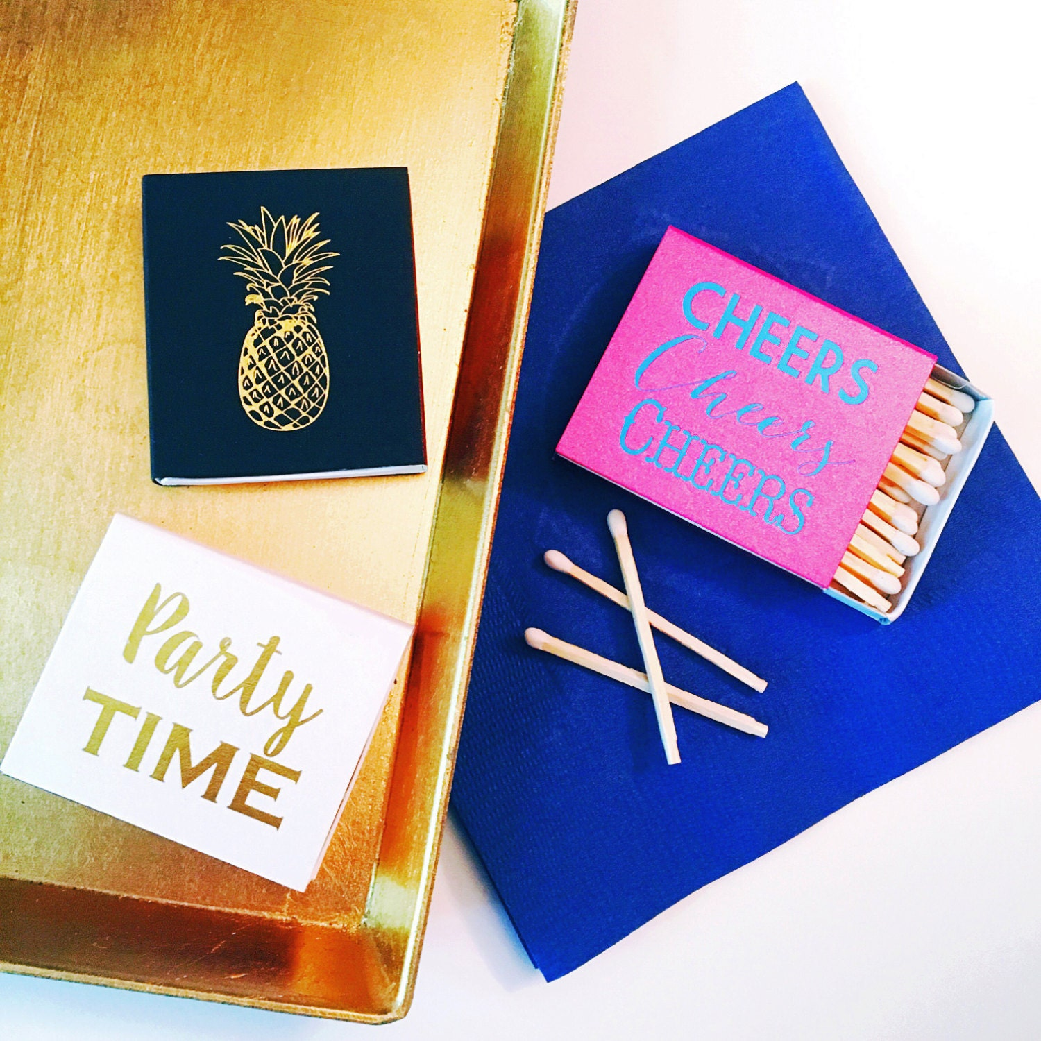 Party matches, Reception matches, Foil stamped matchbox, pineapple ...