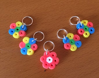 Snag free rainbow flower knitting stitch marker - Set of 5 each