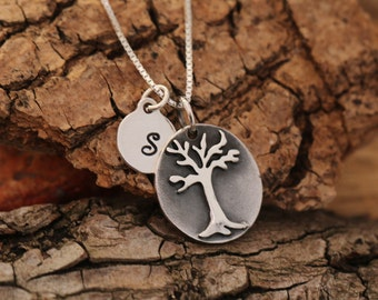 Sterling Silver Tree of Life Necklace|Sterling Silver Tree Necklace|Tree Necklace|Personalised|Initial Necklace|Tree Jewellery|Gift for Her