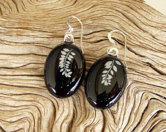 Fused Glass Earrings - White Leavers on Branch - Fused Glass Jewelry - Black Glass - Handmade Glass Jewelry - Sterling Silver Findings