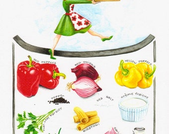 What's In My Pasta Peperonata? - Print van Originele illustratie - Afmeting papier 21,5 x 29,3 cm