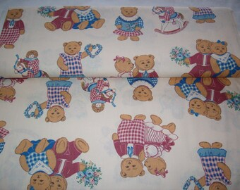 Springmaid Cozy Cafe,vintage fabric, off white with teddy bears in pink and blue outfits , dolls on rocking horses, by yard,baby,child