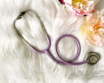Bling stethoscope- bling littmann stethoscope- rhinestone stethoscope- crystal stethoscope- med student gift-sparkly purple stethoscope-