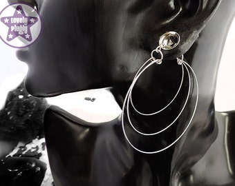 """Triple Hoops Ear Dangly for Tunnels Eyelets 2g 0g 00g 1/2"""" 7/16"""" 9/16"""" 5/8"""" / 6mm 8mm 10mm 11mm 12mm 14mm 16mm and over PAIR"""