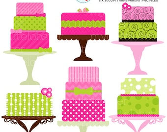 Pink and Green Cakes Clipart Set - clip art set of cakes on stands, pink cakes, green - personal use, small commercial use, instant download
