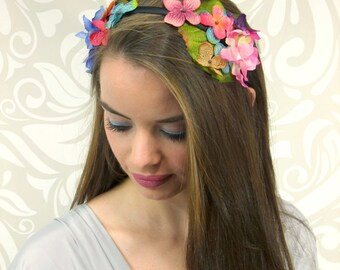 Woodland Fairy Headband, Flower Crown, Rainbow Colors, Flower Headpiece, Bohemian Headband, Boho Hair Accessory, Floral Headband, Mori Kei