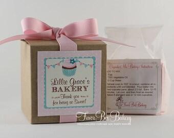 POLKA DOT BAKERY - One Dozen Personalized Cupcake Mix Birthday Party Favors