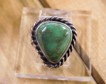 Simple Green Turquoise Sterling Silver Ring Size 3 3/4