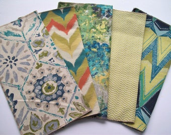 fabric samples 5pk 17x17 blue green