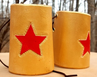 Warrior Woman Leather Gold Cuffs - Classic Bracer with Red Star Comic Costume Accessory