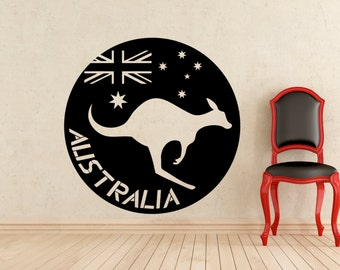Australia Flag Logo Kangaroo Wall Decal Wild Animal Wallaby Vinyl Sticker Home Interior Kids Room Nursery Art Decoration Mural (207a)