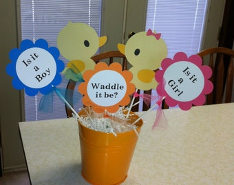 Baby shower duck  centerpiece sticks Waddle it be
