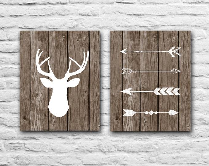 Tribal Arrows Deer Print - Rustic Nursery Decor Gift Wall Art Print Gift For Best Friend Baby Shower Baby Boy Girl Hunting - Wood Art Print