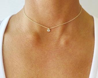 Solitaire Choker Necklace - Solitaire Necklace - Choker Necklace - Gold Necklace