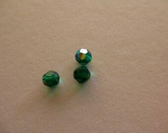 set of 3 6 mm fern green swarovski crystal round beads